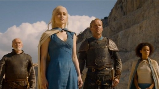 Barristan, Daenerys, Jorah, and Missandei pose in epic fashion.