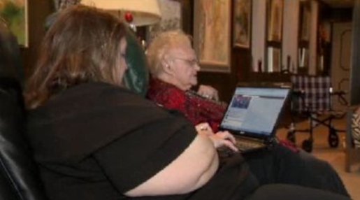 Gail and Marguerite, wasting time on Facebook.