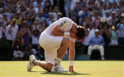 Andy Murray celebrates his historic Wimbledon win.