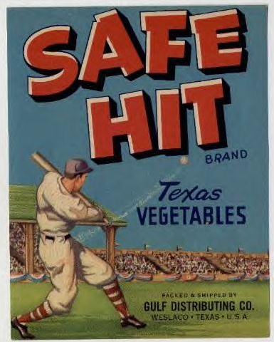 baseball fruit crate label
