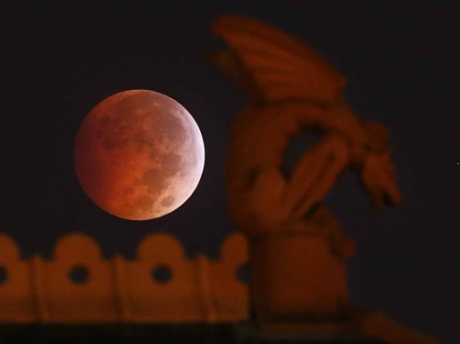 Fitting for Halloween, it's the blood moon.