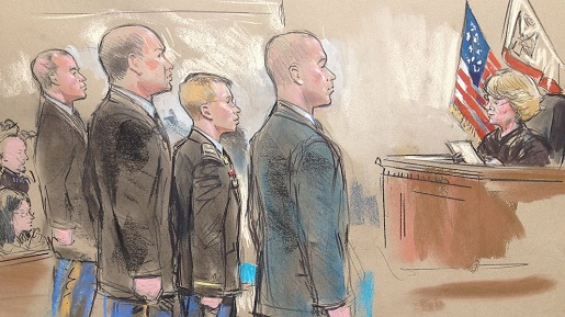 Bradley Manning faces the judge in a courtroom sketch.