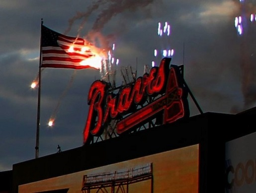 The American flag ablaze at an Atlanta Braves game.