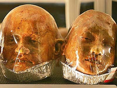 Bread heads wrapped in plastic