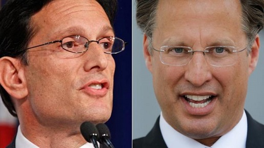 Election loser Eric Cantor (l) and winner Dave Brat (r).