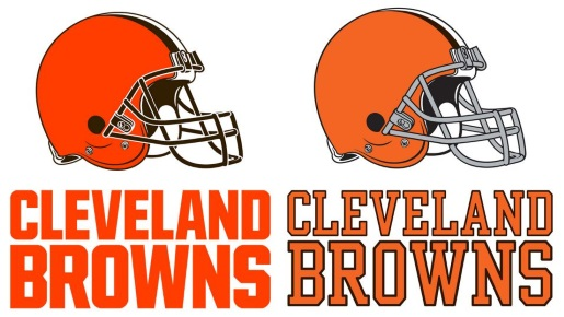 Out with the old (right) in with the new (left) Cleveland Browns logo.