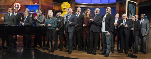 Stephen Colbert's big finale, featuring Big Bird, Cookie Monster, Willie Nelson, and everyone.