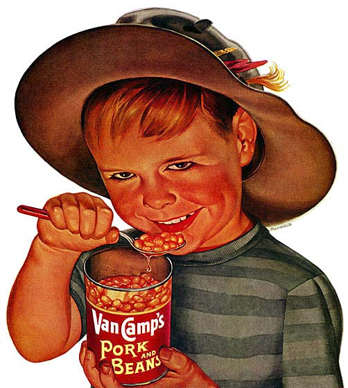 Creepy kid with pork and beans