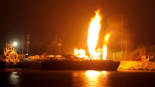 A burning fuel barge on the Mobile River after an explosion.