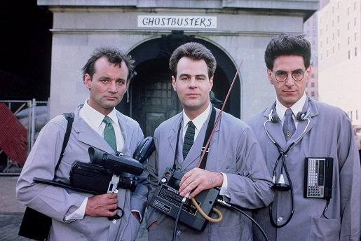 The late, great Harold Ramis (right) with two of his Ghostbusters cohorts.