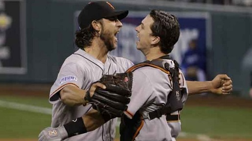 Madison Bumgarner and Buster Posey celebrate yet another World Series.