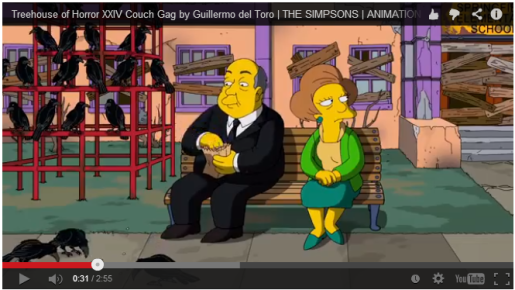 A reference-filled couch gag from Guillermo Del Toro.