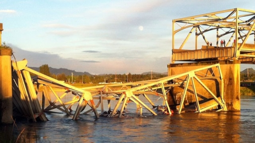 What remains of the Skagit River bridge on Interstate 5.