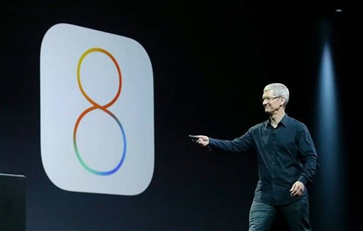 Tim Cook announces iOS 8, which is broken.