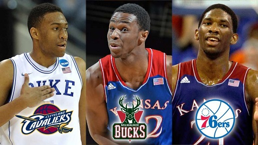The projected top three in the NBA Draft: Parker, Wiggins, and Embiid.