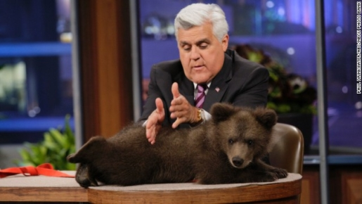 Jay Leno and his Tonight Show replacement, a cuddly bear cub.