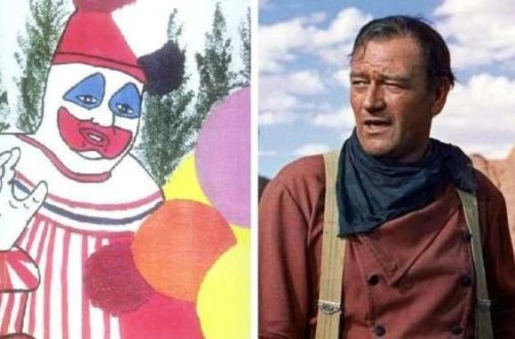 On the left, gay clown serial killer. On the right, American hero.
