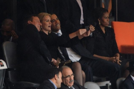 President Obama, David Cameron, and Helle Thorning-Schmidt pose for a selfie.