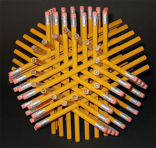 pencils sculpture by sculptor George W. Hart