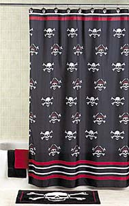 Pirate shower curtain and bathmat