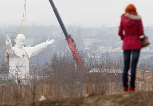 That's what a 45-foot-tall statue of John Paul II looks like.