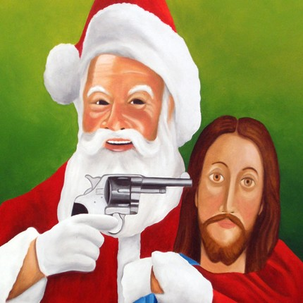 santa shooting jesusjpg - Jesus Santa