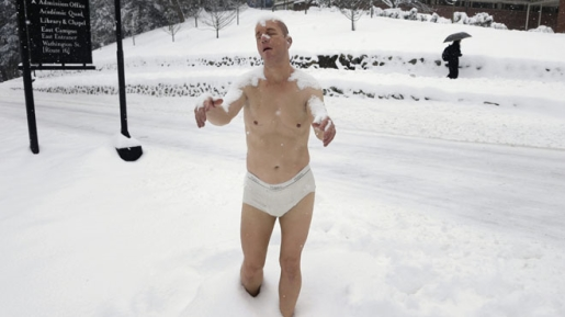 The underwear-clad sleepwalking statue in Wellesley.