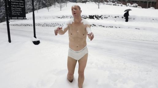 The underwear-clad sleepwalking statue in Wellesley.