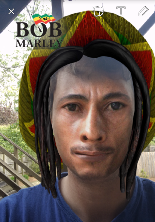 This is what Snapchat thinks Bob Marley would have liked.