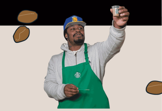 Marshawn Lynch is making a delicious coffee drink.