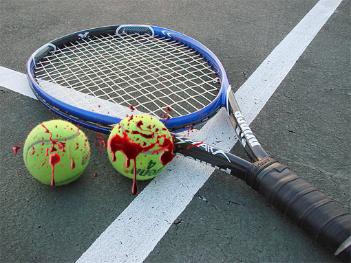 Bloody Tennis Balls and Racket