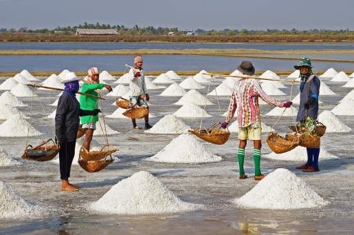 Salt farmers hard at work in Thailand