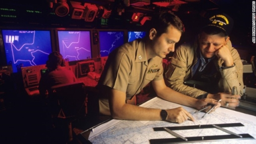 Tom Clancy on board the USS Yorktown in 1988.