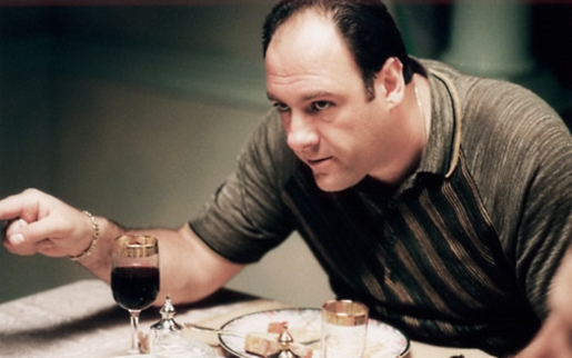James Gandolfini as Tony Soprano, having a nice dinner.