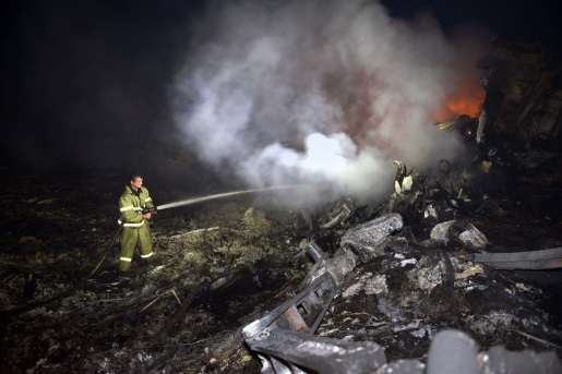 The wreckage of downed Malaysia Airline Flight 17.
