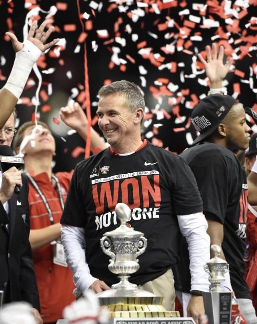 tOSU coach Urban Meyer celebrates his Sugar Bowl and national championship berth.