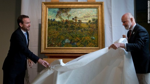 "Van Gogh's ""Sunset at Montmajour"" is unveiled at the Van Gogh Museum."